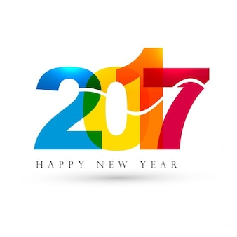 White background with full color numbers for new year