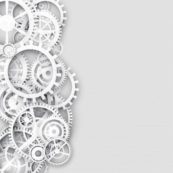 White background with gears and text space