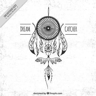 White background with hand drawn dreamcatcher