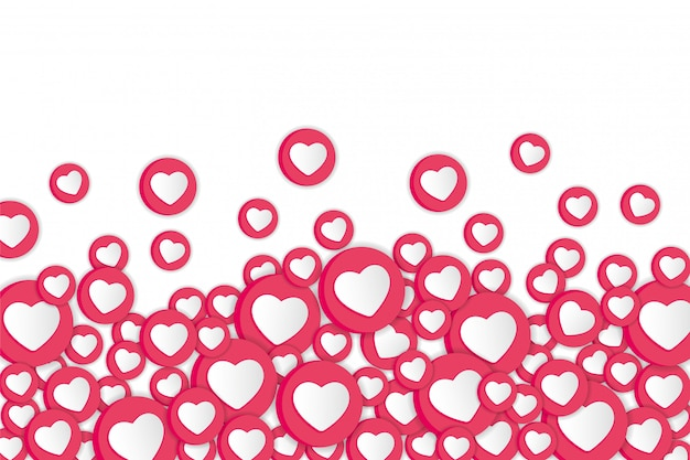 White background with hearts signs