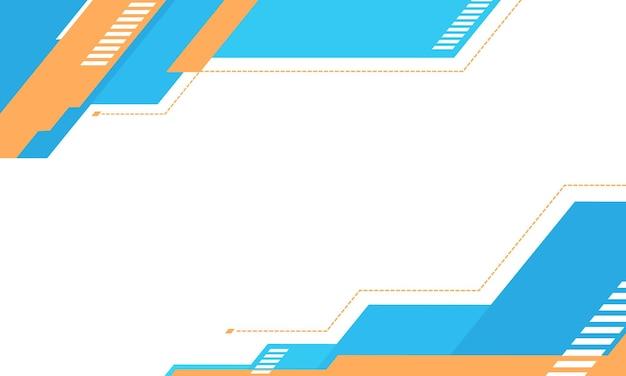幾何学的なデザインの水色とオレンジ色の白い背景。あなたのウェブサイトのための未来的なデザイン。