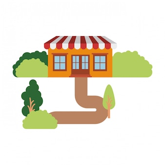 White background with natural landscape and store with awning