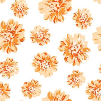 Белый фон с оранжевыми цветами