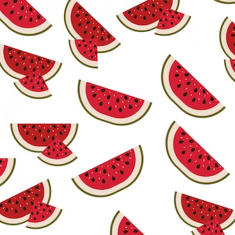 White background with pattern of watermelon sliced vector illustration