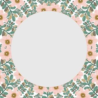 복숭아 꽃과 잎 테두리가 있는 흰색 배경