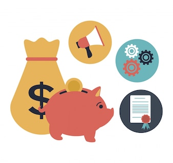 White background with piggy bank and money bag with elements investment in bubbles icons