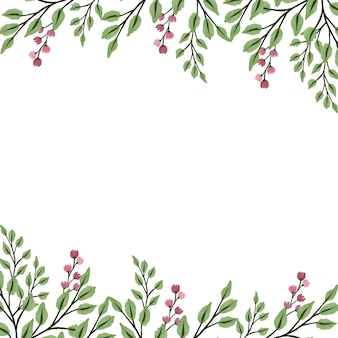 분홍색 야생 식물 테두리가 있는 흰색 배경