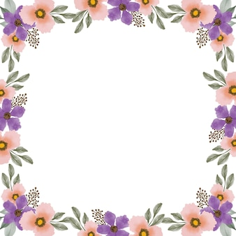 紫とオレンジ色の花の境界線を持つ白い背景
