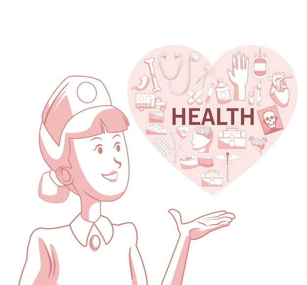 Белый фон с красным цветом разделе силуэт медсестра с сердцем формы с элементами здоровья