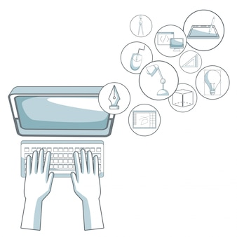 White background with silhouette color sections shading of human hands typing on desk computer with floating icons graphic design