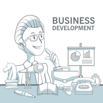 White background with silhouette color sections shading of closeup executive man and elements business development