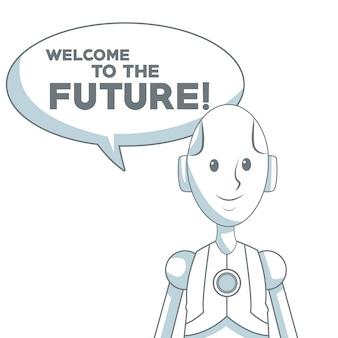 Белый фон с цветовыми элементами силуэта затенение человеческого робота с текстом диалогового окна добро пожаловать в будущее