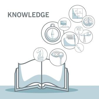 Белый фон с силуэтом цветовых разделов затенение открытой книги с плавающей значки знаний векторной иллюстрации