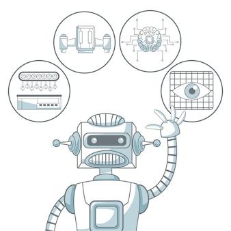 Белый фон с цветовыми элементами силуэта затенение робота и элементов футуристический