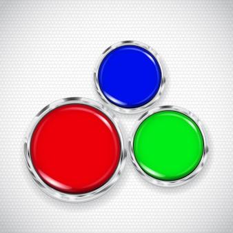 작은 원과 빨강, 녹색 및 파랑 버튼이있는 흰색 배경