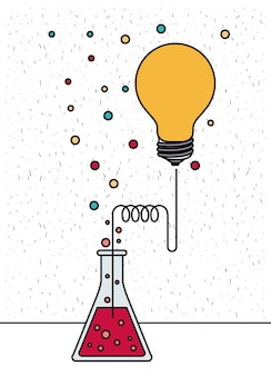White background with sparkles of glass beaker connected to light bulb and dots