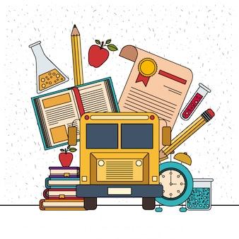 Белый фон с блестками цвета набор предметов образования колледжа с образовательными элементами