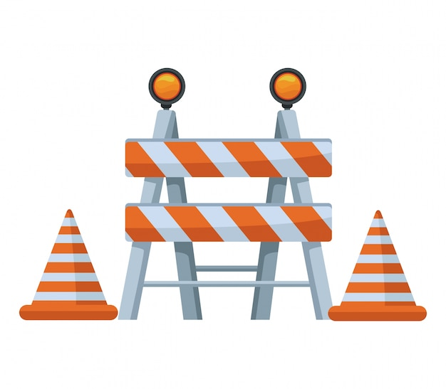 White background with traffic barrier with cones