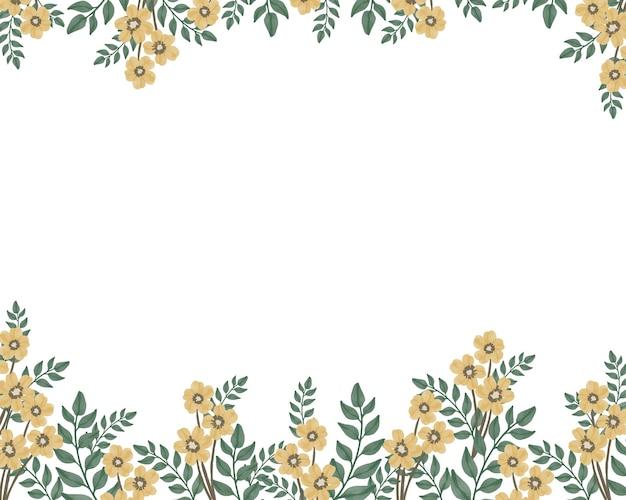노란 꽃과 녹색 잎 테두리가 있는 흰색 배경