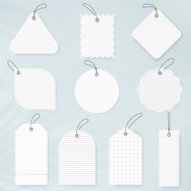 흰색 배지 스티커, 빈 벡터 간단한 클립 아트 텍스트 공간 세트