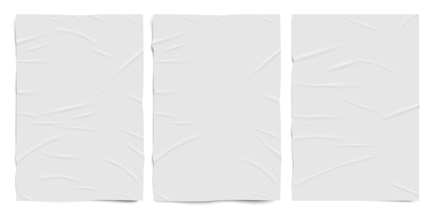 White badly glued paper texture, wet wrinkled effect paper sheets,   realistic set
