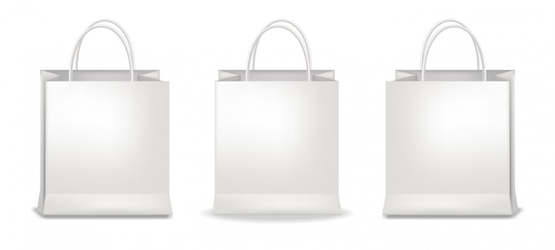 White bags set, isolated, packaging mockup, package design, shop object illustration