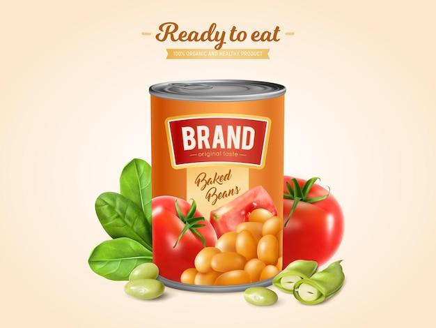 토마토 소스 illsutration에 흰색 구운 콩