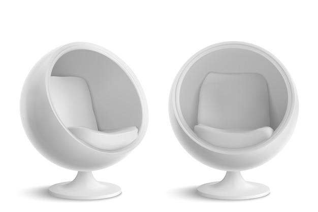 흰색 공 의자, 전면 및 각도보기.
