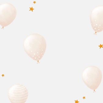 White balloon patterned background vector cute hand drawn style