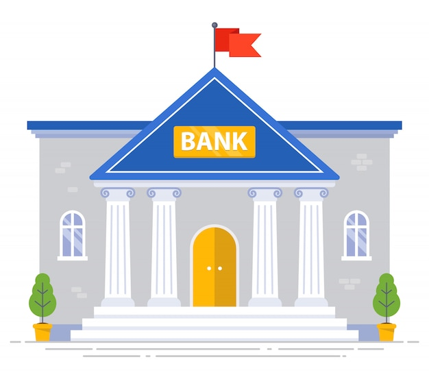 White bank building with columns and flag on the roof isolated. flat   illustration
