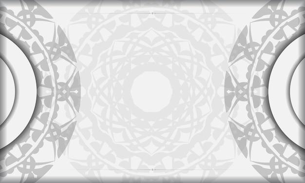 검은색 만다라 장식이 있는 흰색 배너 템플릿과 로고를 위한 장소. 그리스 패턴으로 배경을 디자인합니다.
