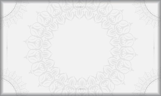 Шаблон белый баннер с орнаментом старинные мандалы и место для вашего логотипа и текста. предпосылка дизайна с винтажным орнаментом.