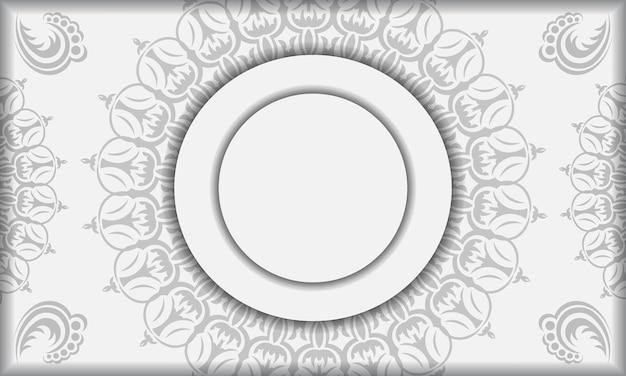 Шаблон белый баннер со старинными орнаментами мандалы и местом для вашего логотипа. шаблон для печати дизайн фона со старинным орнаментом.