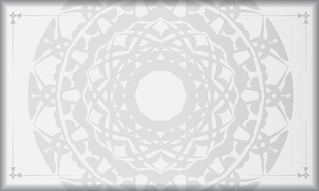 검은색 만다라 장식이 있는 흰색 배너와 로고를 위한 장소. 그리스 패턴으로 인쇄 가능한 디자인 배경 템플릿입니다.