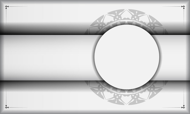 검은색 만다라 장식이 있는 흰색 배너와 텍스트 및 로고를 위한 장소. 그리스 패턴으로 배경을 디자인합니다.