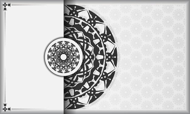 검은색 만다라 장식이 있는 흰색 배너와 텍스트 아래에 놓습니다. 그리스 패턴으로 인쇄 가능한 디자인 배경입니다.