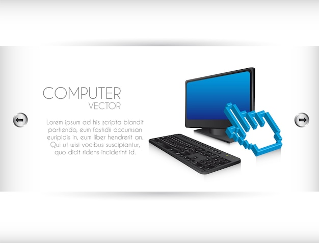 White banner with computer with cursor vector illustration