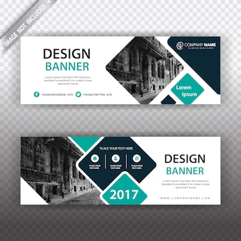 White banner with geometric details