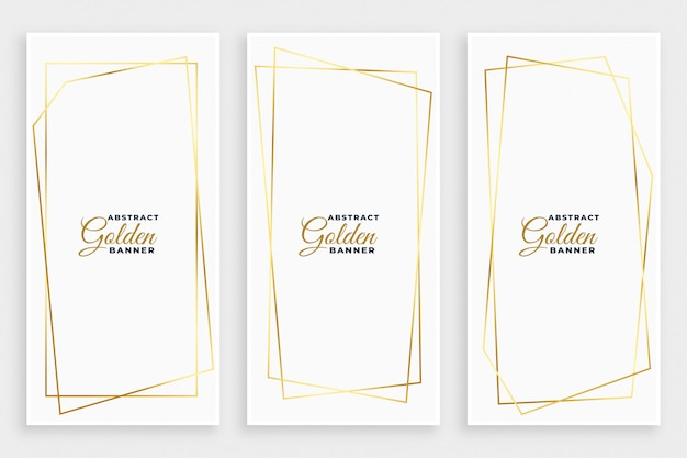 White banner with golden geometric line frames desiign