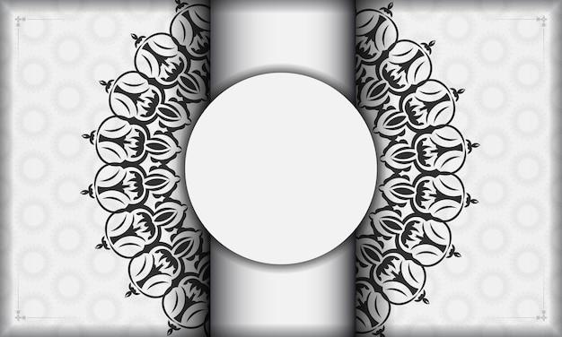 Белый баннер с орнаментом мандалы и место для вашего логотипа. шаблон для полиграфического дизайна фона со старинными узорами.