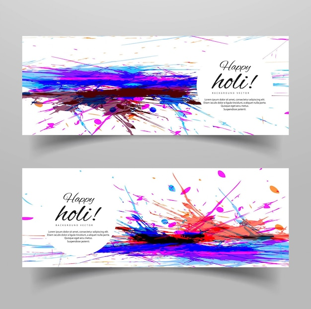 White banners with artistic watercolors for holi