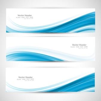 ブルー波状のバナー