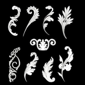 White Baroque elements vector set