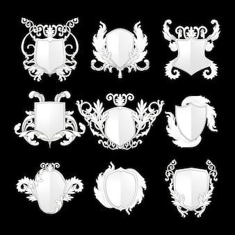 White Baroque shield elements vector set
