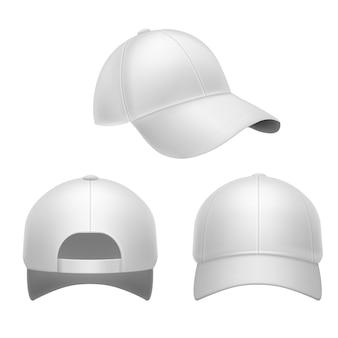 흰색 야구 모자. 3d 모자, 머리 모자 다시, 전면 및 측면보기.