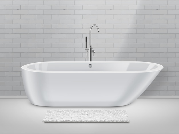 White bathroom in modern style with rug on floor and bathtub on brick wall background.