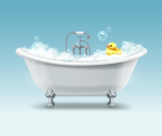 White bathtub in vintage style with foam