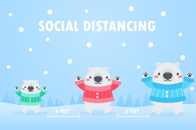 White bear family social distance to protect against the virus in the snowy winter of christmas.