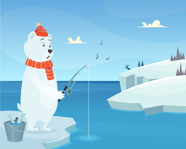 White bear. iceberg ice winter animal standing character in cartoon style