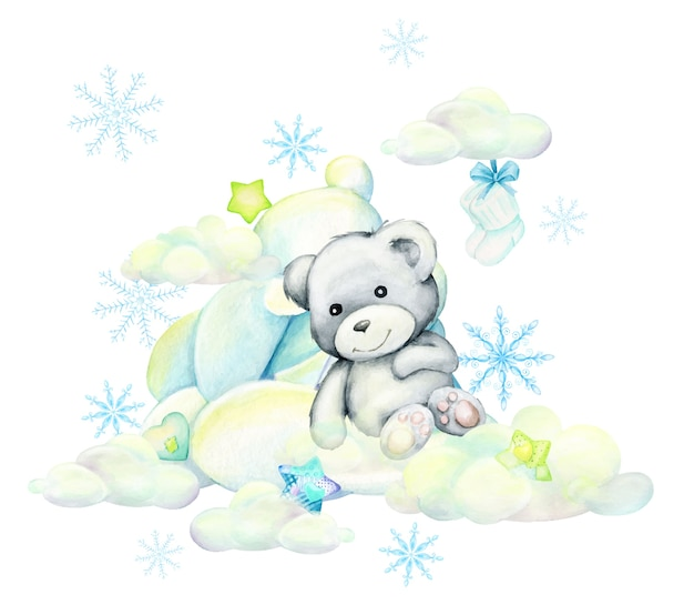 White bear. lies on the clouds against the background of stars and snowflakes, watercolor isolated